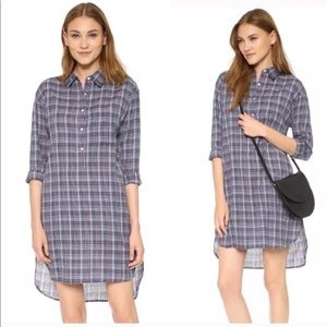 SUNDRY Tartan Plaid Hi Low Shirt Dress